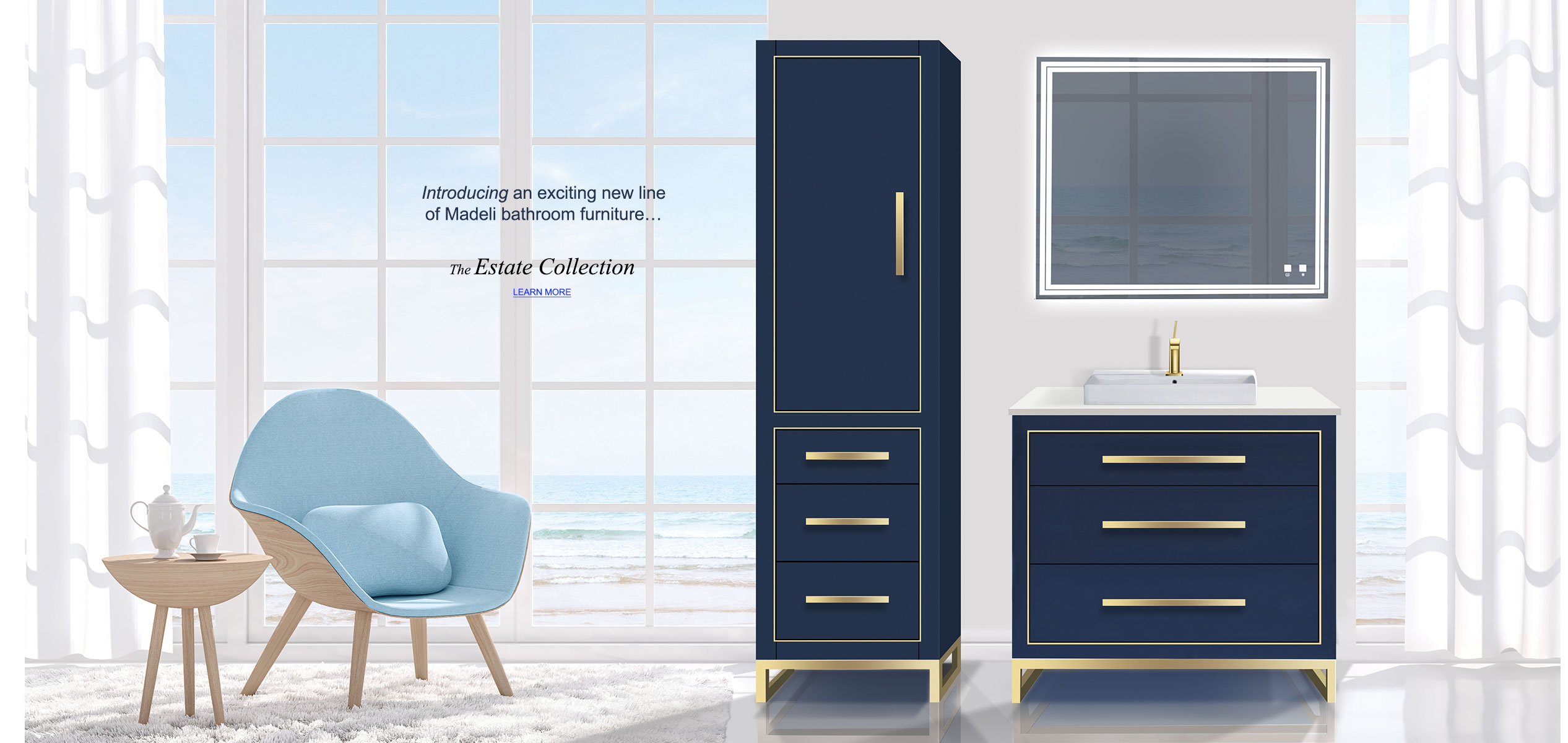 Estate 36 inch vanity and linen cabinet, both in sapphire blue and satin brass handles