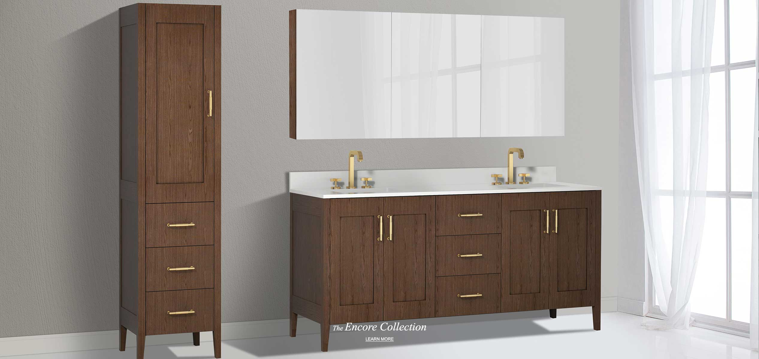 Encore 72 inch double bowl vanity and linen cabinet in walnut color and medicine cabinet