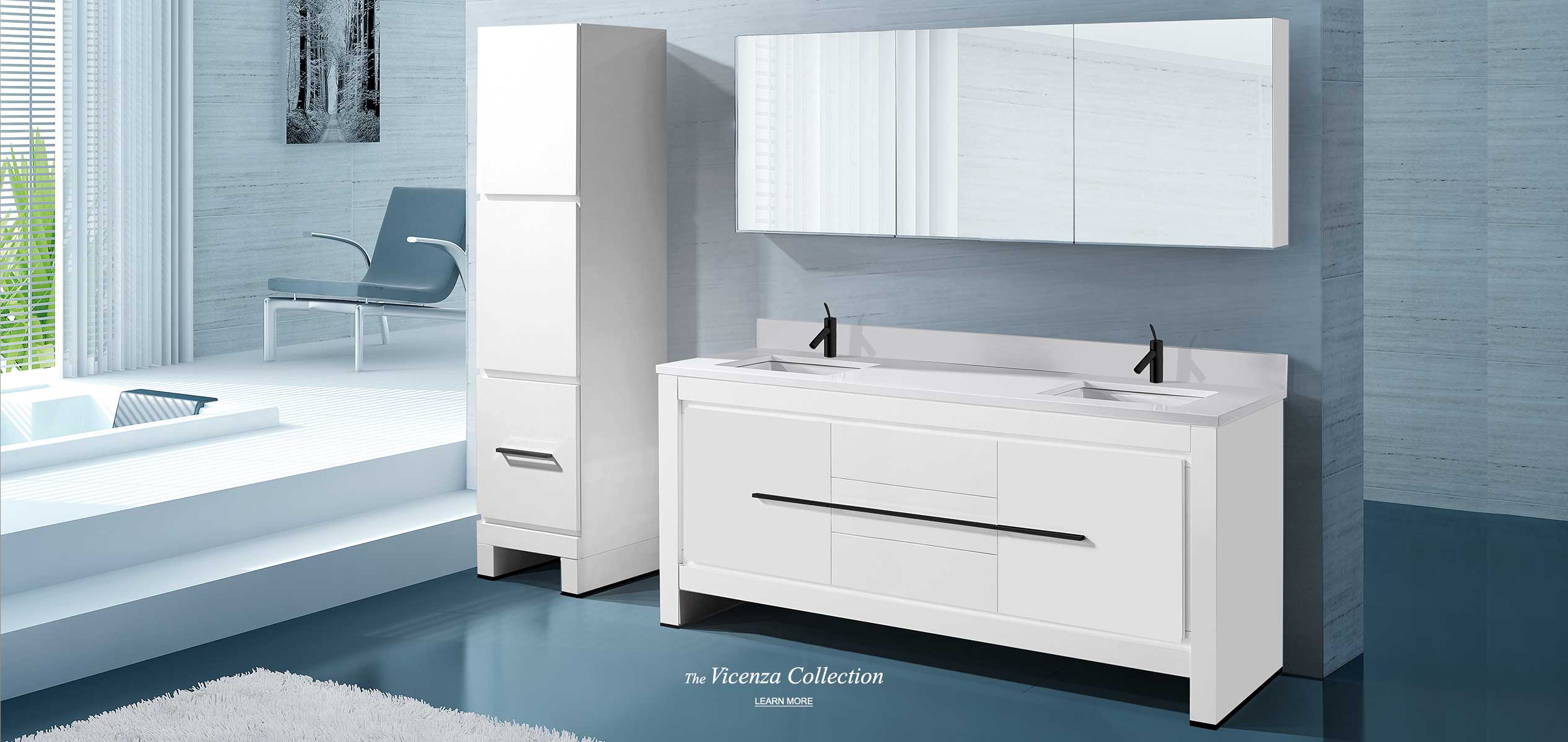 Vicenza 72 inch double bowl vanity and linen cabinet in white with medicine cabinet