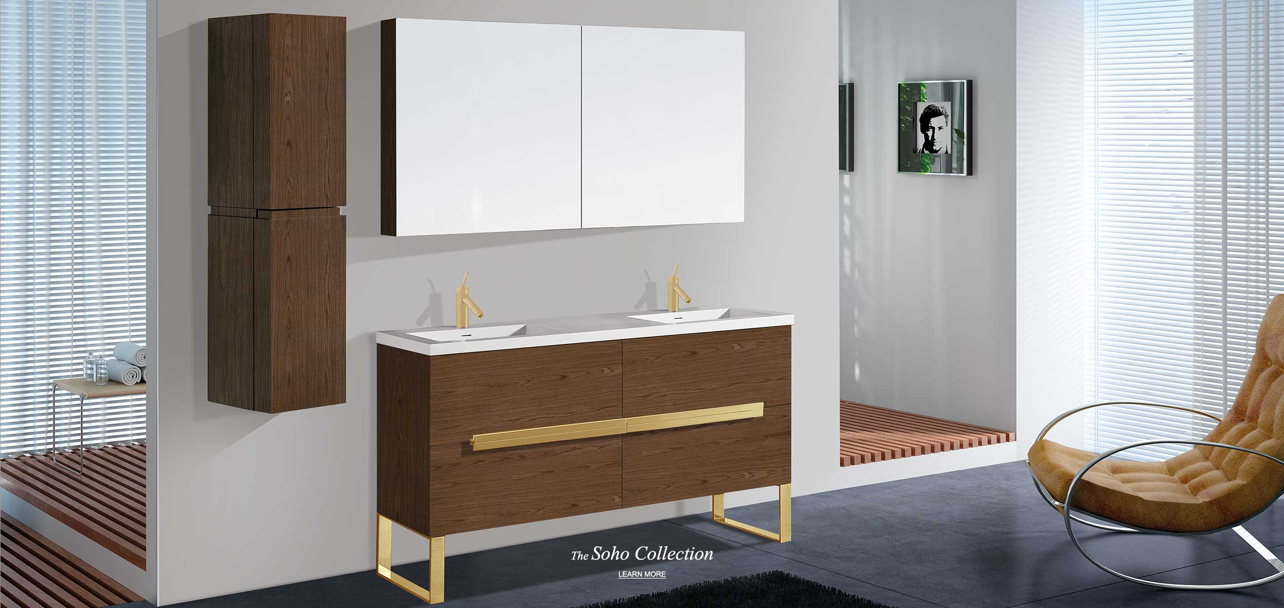 Soho 60 inch double bowl vanity and linen cabinet with satin brass hardware and matching medicine cabinet