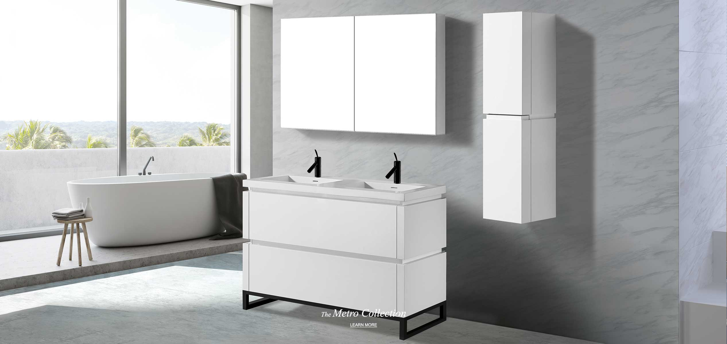 Metro 48 inch double bowl vanity and linen cabinet in white with matching medicine cabinet